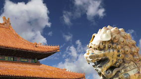 A bronze Chinese dragon statue in the Forbidden City. Beijing, China stock video footage