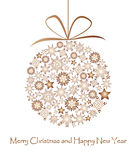 Bronze Christmas ball made from snowflakes. On white background Royalty Free Stock Image
