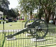 Bronze Civil War Cannon Bainbridge Georgia. BAINBRIDGE, GEORGIA-SEPTEMBER 9, 2017: This bronze Civil War cannon at Willis Park in Bainbridge, Georgia, was royalty free stock photo