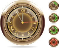 Bronze clocks set #2 | Vector.ai 10. 5 (or 1) minute till 12. Detailed image set of bronze retro chronometer and 1 minute timer. Used blends and meshes. Can fit royalty free illustration
