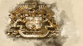 Coat of arms of Prague. Bronze coat of arms of Prague. Watercolor background Royalty Free Stock Image