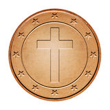 Bronze coin with cross Royalty Free Stock Photo