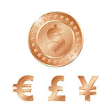 bronze coin with dollar, euro, pound and yen signs. EPS Royalty Free Stock Photography