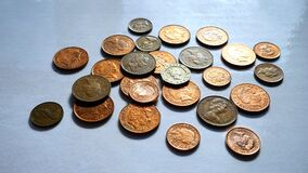 Bronze Collection of Coins Royalty Free Stock Photography