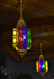 Bronze colored glass chandelier,lantern ramadan lamp Stock Photo