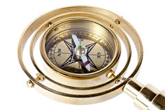 Bronze compass with a handle Royalty Free Stock Images