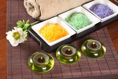 Bronze Composition Spa. Spa, bath salts, candles and a towel Royalty Free Stock Photography