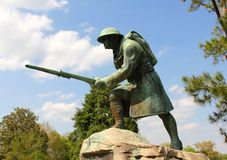 Bronze and Concrete Statue of an American Infantry Solider Stock Images