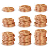 Bronze, Copper Coins Stacks Vector. Silver Finance Icons, Sign, Success Banking Cash Symbol. Realistic Isolated. Bronze, Copper Coins Stacks Vector. Silver Royalty Free Stock Image