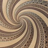 Bronze copper geometrical abstract ornament spiral fractal pattern background. Metal spiral pattern effect background. Concept art. Bronze copper geometrical Royalty Free Stock Photos