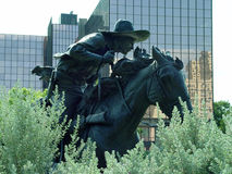 Bronze Cowboy. In downtown Dallas Royalty Free Stock Image