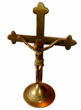 Bronze cross, isolated on white Stock Image