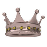 Bronze crown decorated with yellow sapphires. Isolated render on a white background Royalty Free Stock Image