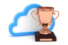Bronze cup with cloud. 3D rendering. Stock Images