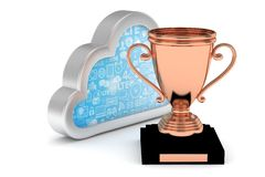 Bronze cup with cloud. 3D rendering. Isoalted bronze cup with cloud on white background. Concept of cloud storage competition. Leader cloud drive. Best storage Royalty Free Stock Photo