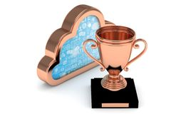 Bronze cup with cloud. 3D rendering. Isoalted bronze cup with cloud on white background. Bronze contour cloud. Concept of cloud storage competition. Leader Stock Image