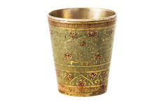 Bronze cup with ornament on a white background Royalty Free Stock Photos