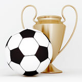 Bronze cup and soccer ball Stock Photos