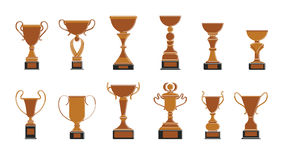 Bronze cups set. Bronze cups set on white background. Trophies for third place Royalty Free Stock Photo