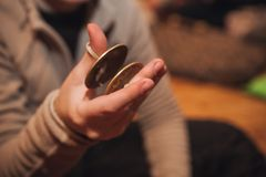 Bronze cymbals castanets on hand Stock Image