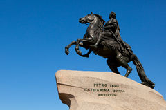 bronze den stora horesman monumentet peter till Arkivbild