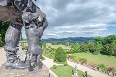 Bronze dog, Powis Castle, Wales stock image