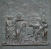 Bronze door with the image of the life of St. Peter: Foundation of the Papal See. Basilica of Saint Paul Outside the Walls, Rome, Italy stock photography