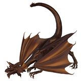 Bronze Dragon. Crouching dragon with metallic bronze scales, 3d digitally rendered illustration vector illustration