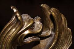 Bronze dragon. Is fragment of old-time chinese vase stock image