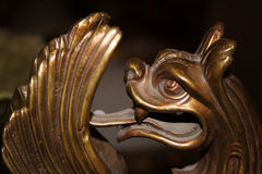 Bronze dragon. Is fragment of old-time chinese vase royalty free stock photo