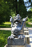 Bronze dragon on the bridge Royalty Free Stock Images