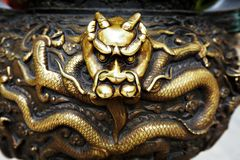 Bronze dragon head Royalty Free Stock Images