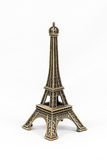Bronze Eiffel Tower model, isolated on white background Stock Photography