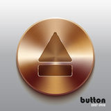 Bronze eject button. Round eject button with brushed bronze texture isolated on gray background Royalty Free Stock Photo