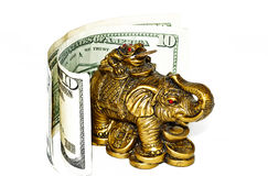 Bronze elephant with bill Royalty Free Stock Photo
