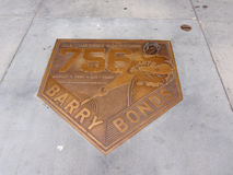 Bronze Emblem celebrate 756 homerun of Barry Bonds Royalty Free Stock Images