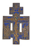 Bronze and enamel crucifix Royalty Free Stock Images