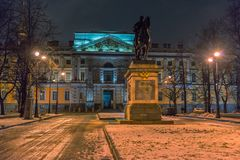 Monument of Peter the Great in front of the St. Michael`s Castle royalty free stock photography