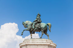 Bronze equestrian sculpture of Victor Emmanuel Stock Photo