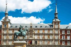 Bronze equestrian statue of King Philip III from 1616 at the Pla Stock Photography