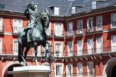 Bronze equestrian statue of King Philip III from 1616 at the Plaza Mayor in Madrid, Spain. Bronze equestrian statue of King Philip III from 1616 at the Plaza Royalty Free Stock Photography