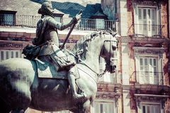 Bronze equestrian statue of King Philip III from 1616 at the Plaza Mayor in Madrid, Spain. Royalty Free Stock Photography