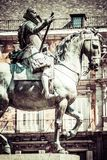 Bronze equestrian statue of King Philip III from 1616 at the Plaza Mayor in Madrid, Spain. Stock Photography