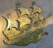 Bronze of the Famous Ship, The Mayflower. Bronze plaque of the Mayflower. In 1620 the Mayflower carried pilgrim from Plymouth, England to Plymouth Colony Royalty Free Stock Photography