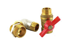 Bronze faucet and fittings for pipe Stock Image