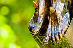 Some believe in green. Bronze feet of a religious statue depicting Jesus Christ Stock Images