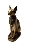 Bronze figure of the Egyptian cat. Isolated on a white background Stock Images