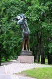 Bronze figure Elk is considered one of the best monuments of Park sculpture in Vyborg. Iinstalled in Vyborg in 1928. Sculptor Jussi Mantynen 1886-1978 stock image
