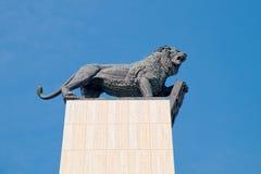 Bronze figure of lion with coat of arms, Bratislava, Slovakia Stock Photo