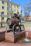 Bronze figure of a water carrier in Kronstadt. The City Of St. P Royalty Free Stock Photos